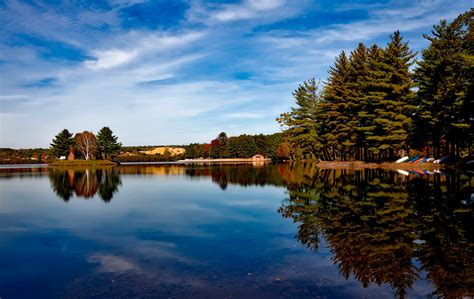 Dusk Autumn Forest Lake Water Free Images Landscape Tree Nature Forest Cloud Sky