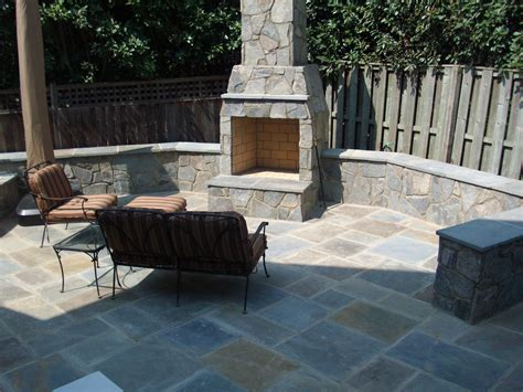 stone patio fireplace modern patio outdoor