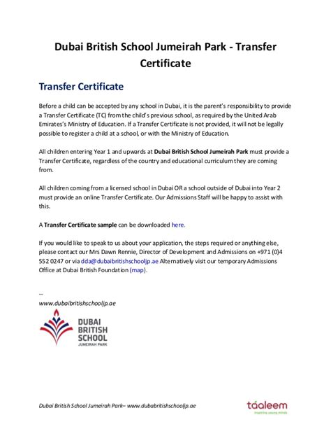 Request Letter For Getting Transfer Certificate From School Dubai School Jumeirah Park Transfer Certificate