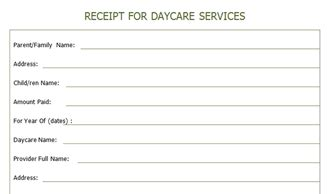 receipt for year end daycare services