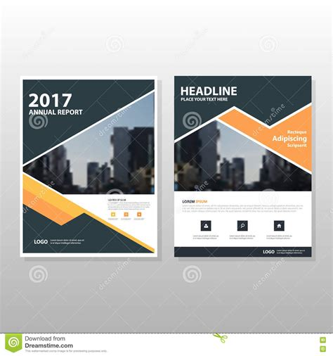 typography layout design photo orange black triangle vector annual report leaflet