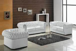 ultra modern 3pc living room set leather white