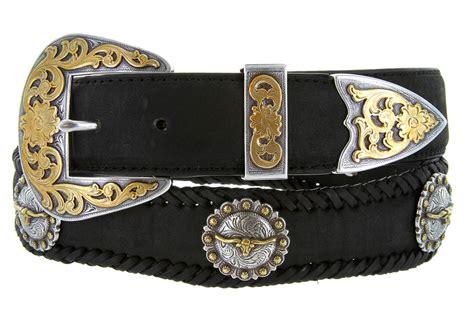 laredo longhorn steer berry concho western leather cowboy belt