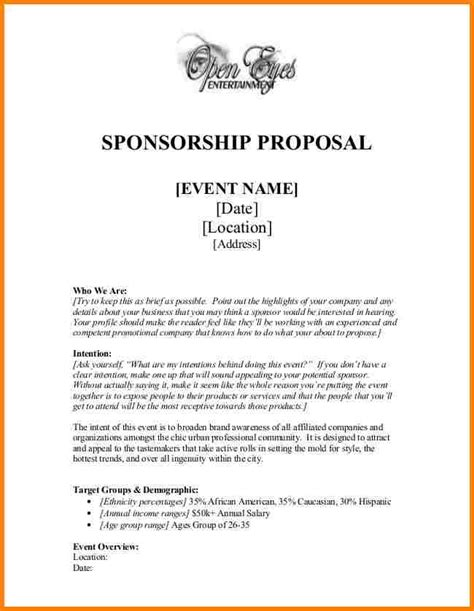 Sponsor Letter Requirements Sponsorship Template Doc