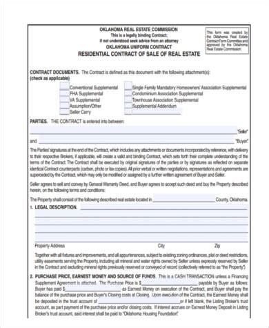 sample real estate contract forms   ms word