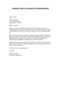 Apology Letter To Hr Attractive Apology Letter Exle To Customer For Misinformation Vatansun