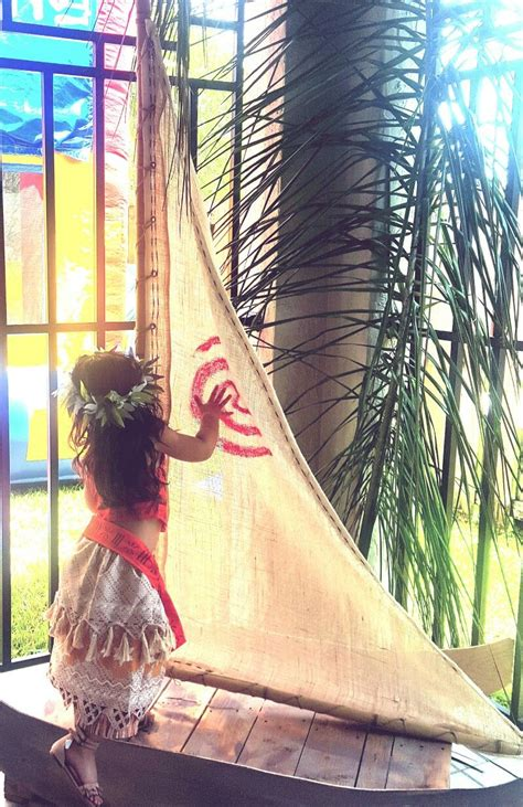 this moana birthday party boat is homemade using a basic - Blow Up Moana Boat