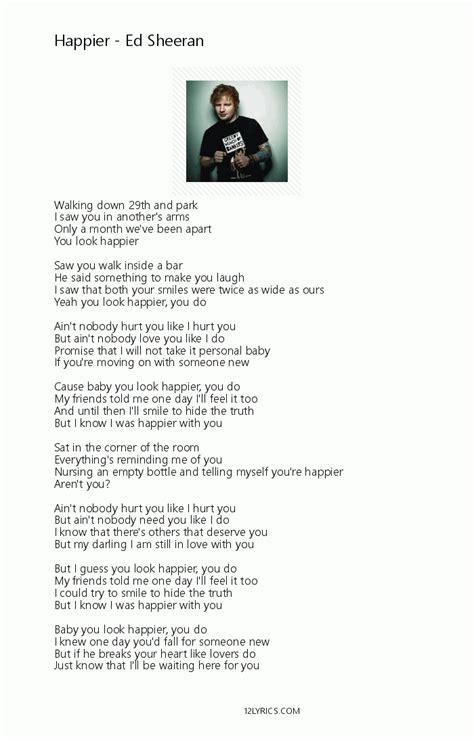 ed sheeran happier ed sheeran happier picture lyrics