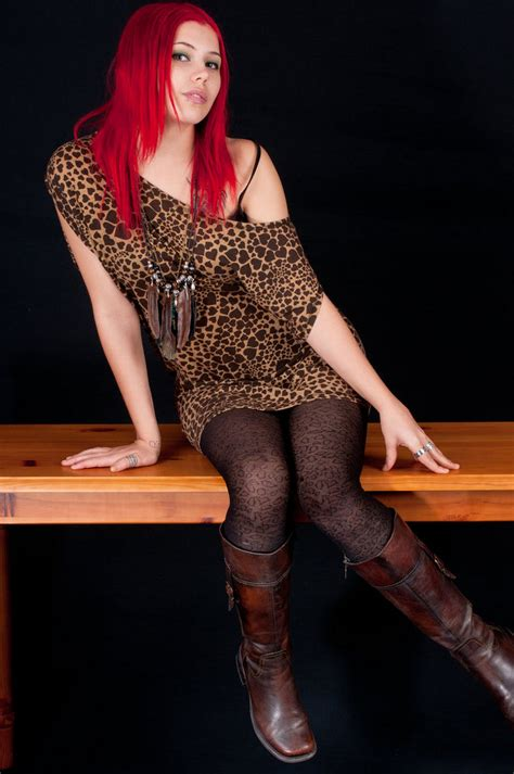 Black And Brown Patterned Tights | black patterned pantyhose leopard top and dark brown