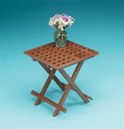 fold away end table whitecap 60030 teak grate top fold away table whitecap