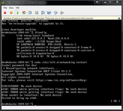 configure ubuntu server eth0 ubuntu eth0 error while getting interface flags no such