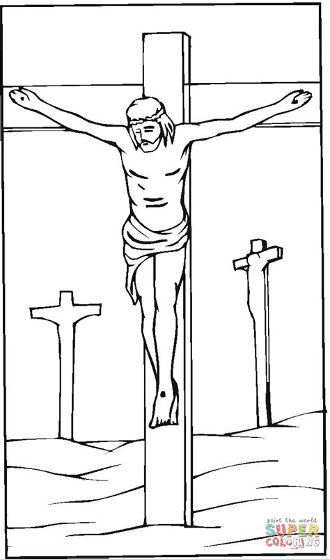 coloring pages jesus on the cross jesus crucified on the cross coloring page free