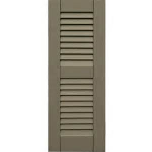 wooden shutters interior home depot winworks wood composite 12 in x 32 in louvered shutters pair 660 weathered shingle 41232660