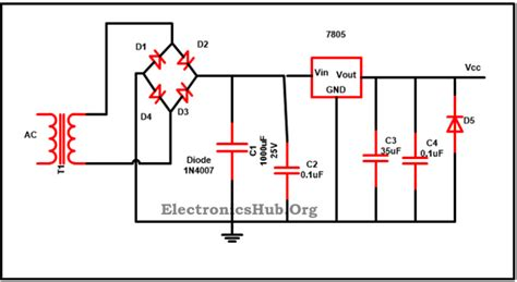 capacitor used with 7805 7805 ic voltage regulator circuit working and applications