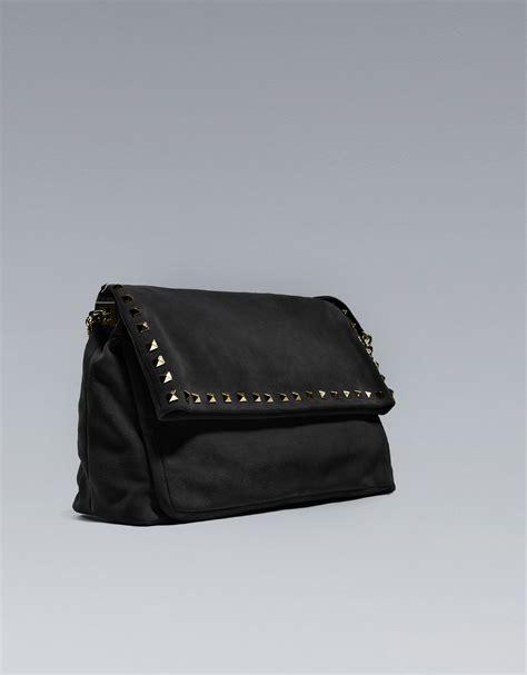 Zara Studded Hobo Bags Black zara studded suede city bag in black lyst