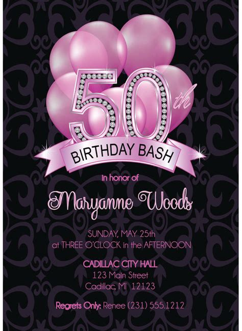 50th birthday templates free download premium invitation