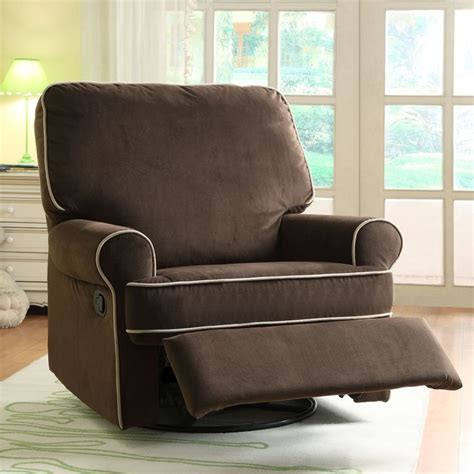 glider or recliner for nursery ella brown fabric nursery swivel glider recliner chair