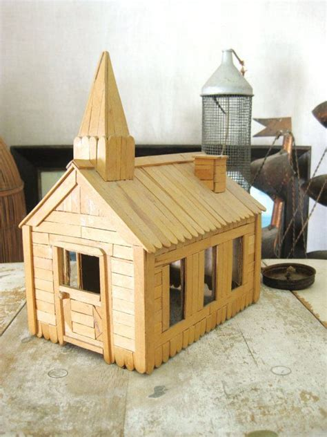 popsicle stick house vintage popsicle stick church 1971 vintage religion