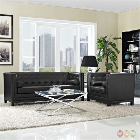 black living room set imperial contemporary 2pc button tufted leather living