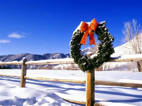 images of christmas garland on a fences wreath on a fence on wallpapers and images wallpapers pictures photos