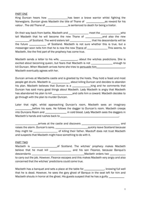 printable version of macbeth macbeth plot cloze exercise by missrathor teaching