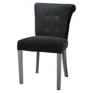 chaise capitonn 233 e en velours noir boudoir maisons du monde