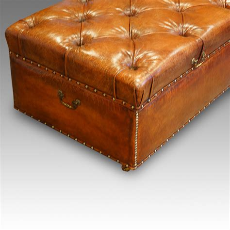 leather ottoman uk large edwardian leather ottoman hingstons antiques dealers