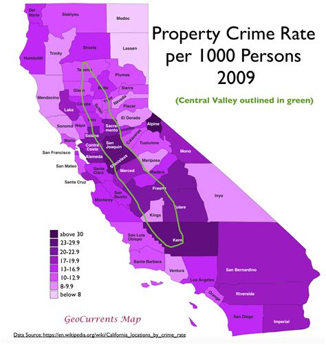 california crime map surprising patterns in geography of crime in california