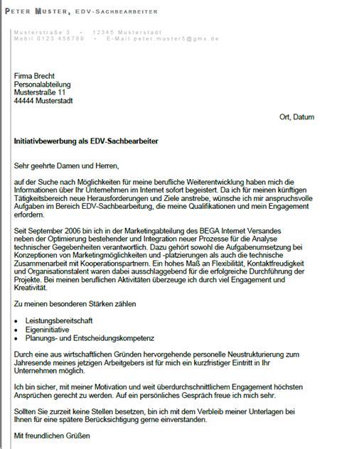 Initiativbewerbung Anschreiben Sachbearbeiterin Bewerbung Edv Sachbearbeiter Gek 252 Ndigt Berufserfahrung Sofort
