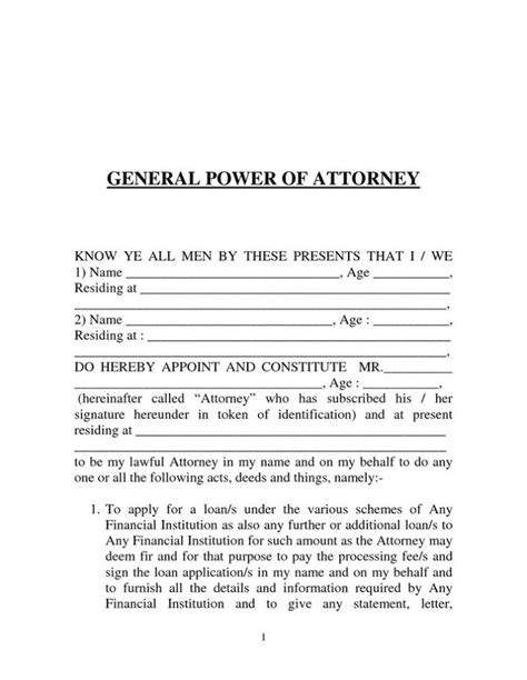 printable power of attorney form template sle