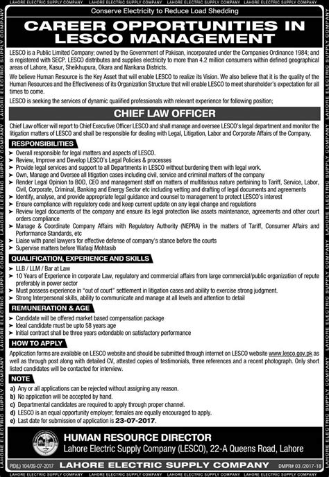 Chief Officer Salary by Chief Officer In Lesco Management 9th July 2017