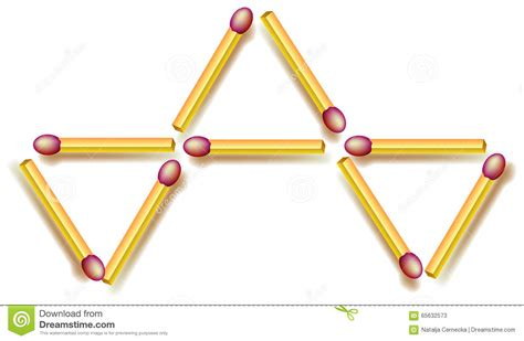 triangle matchstick pattern move four matchsticks to make fife triangles logic puzzle