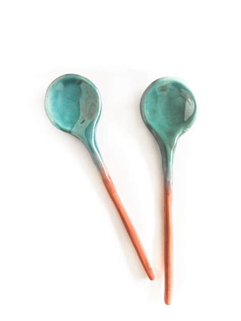 Handmade Spoon - ceramic spoons home decor handmade turquoise glaze pair of