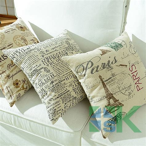 Linen China Koran 2pcs lot high quality new cotton linen pillow korean style square letter pattern cusions home