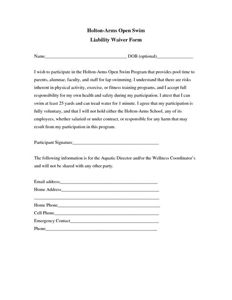 Liability Insurance Liability Insurance Waiver Template Liability Release Form Template Free General Liability Release Form Template
