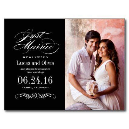 Wedding Announcement Cards by Just Married Wedding Announcements Black White