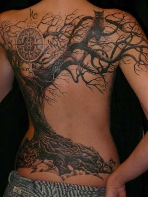 tree back tattoo amazing dead tree design idea