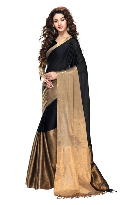 Designer Clocks by Buy Black And Gold Color Cotton Saree With Zari Weaving
