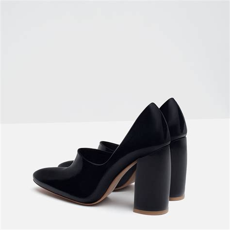 Zara Black Heels zara block heel leather shoes in black lyst