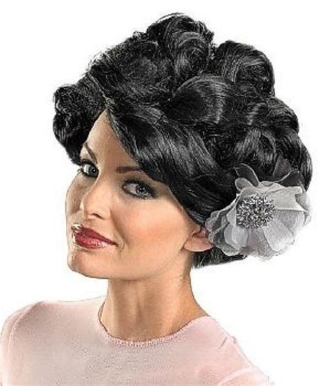 updo wigs for women adult dark bloom black updo wig with silver bow ebay