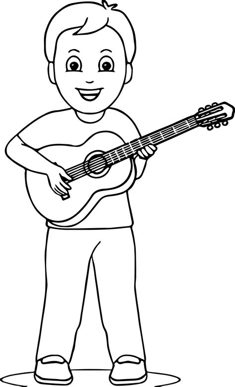 guitar coloring pages boy guitar coloring page wecoloringpage
