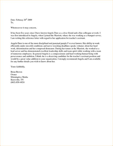 Personal Reference Letter For A Friend Uk 5 sle personal reference letter for a friend loan