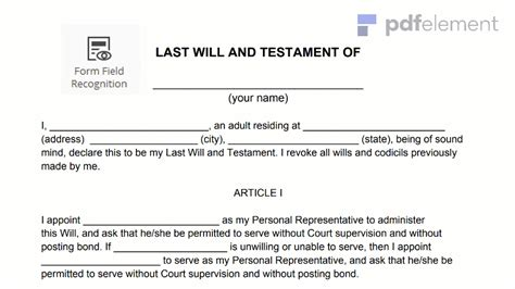 free template for last will and testament last will testament template
