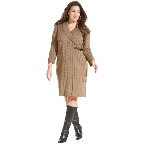 cable knit sweater plus size lyst calvin klein plus size cable knit sweater dress in