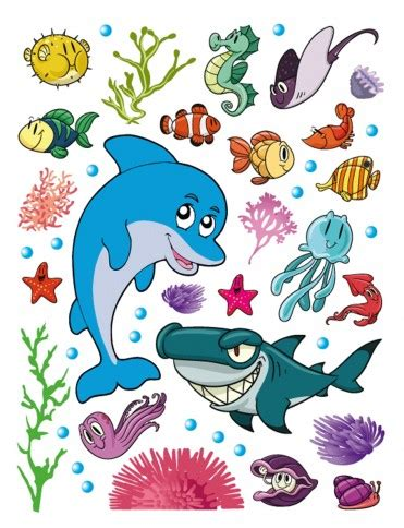 Wall Murals And Decals kids world sea animals dolphin shark seahorse fish