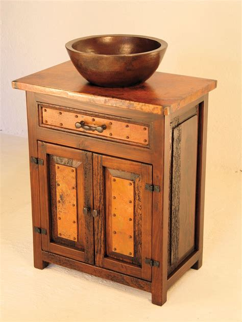 El Cerrito Wood Copper Vanity Copper Sinks Online Bathroom Vanity With Copper Sink