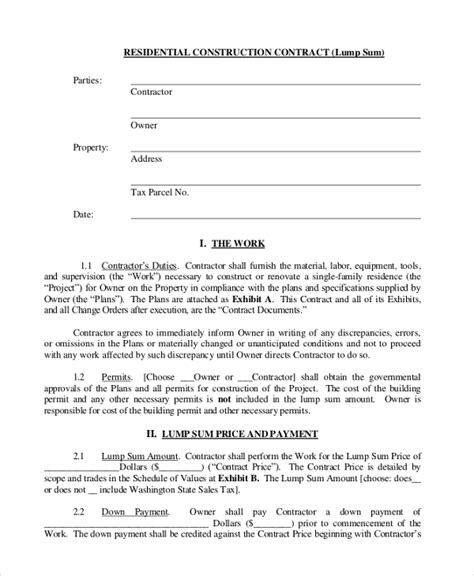 Letter Of Credit Construction Contract Sle Construction Contract Form 10 Free Documents In Pdf