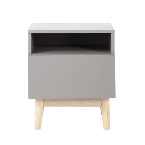 Wooden vintage bedside table in grey W 40cm Artic   Maisons du Monde