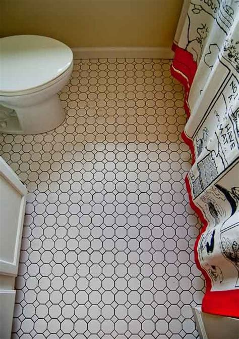 23 black and white octagon bathroom floor tile ideas and