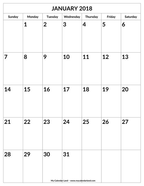 printable weekly calendar portrait january 2018 calendar my calendar land
